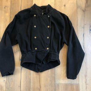 80's style vintage black jean jacket